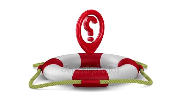 Frage in Rettungsring auf weißem Hintergrund. 3D-Darstellung