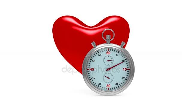 srdce a stop hodinky na bílém pozadí. Izolované 3d obraz