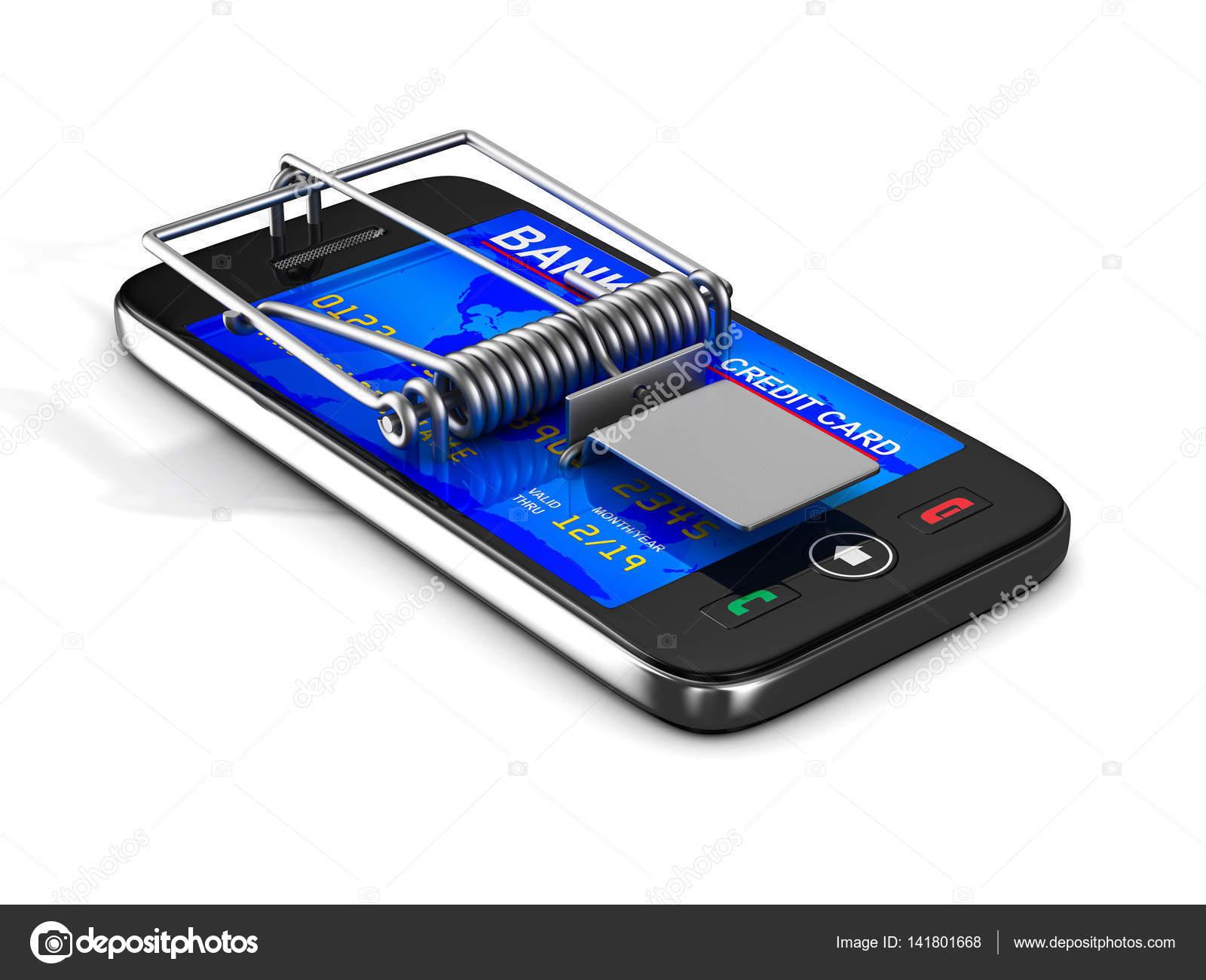 Telefon V Past Na Myši Izolované 3d Obraz Stock Fotografie