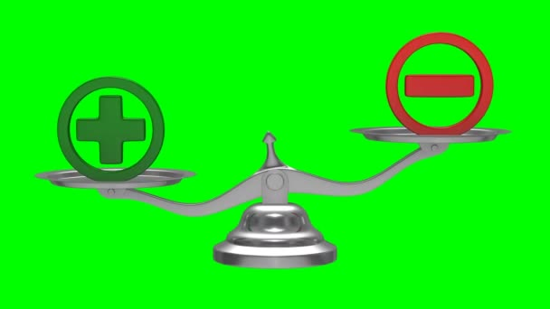 Scales on green background. Sign plus and minus. Isolated 3D render