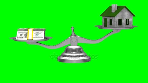 Dům a peníze na stupnicích. Samostatný 3d vykreslení. Zelené pozadí