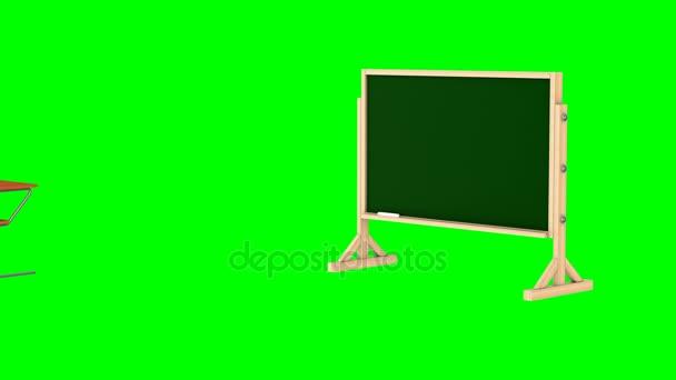 Klassenzimmer auf grünem Hintergrund. Isolierte 3d render