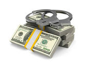 Fotografie Handcuffs and money on white background. Isolated 3D illustratio