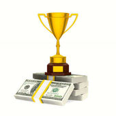 Gold cup winner and money on white background. Isolated 3D illus