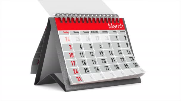 Browsing of the desktop calendar on white background. Isolated 3D render