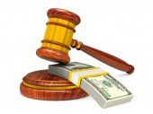 wooden gavel and money on white background. Isolated 3D illustra