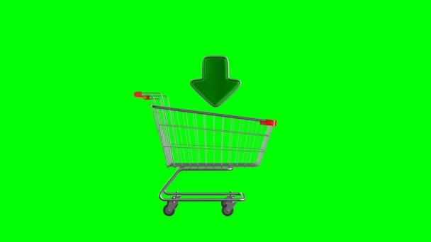 shopping cart and arrow on white background. Isolated 3D illustration