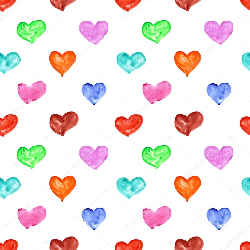 Colourful watercolor hearts