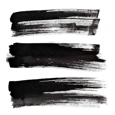 Set of black ink brush strokes isolated on the white background stock vector
