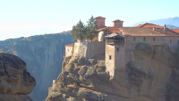 The Varlaam monastery in Meteora in the morning, Greece. Zoom out
