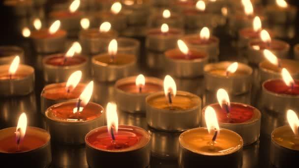 Candlelight - Many burning candles close-up