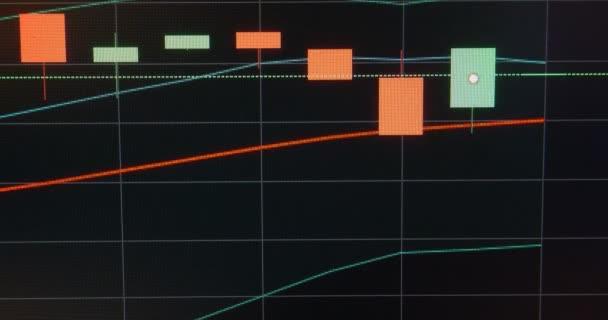 Obchodní svíčka graf akciového trhu na obrazovce. Černé pozadí. Timelapse