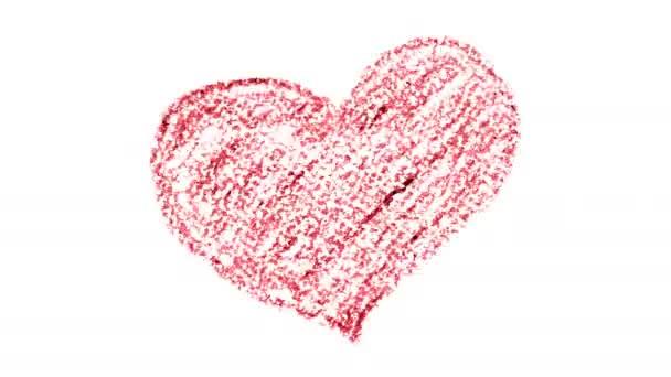 Animace z ruky nakreslené červenou pastelkou srdce – pojem láska, Valentýn karty