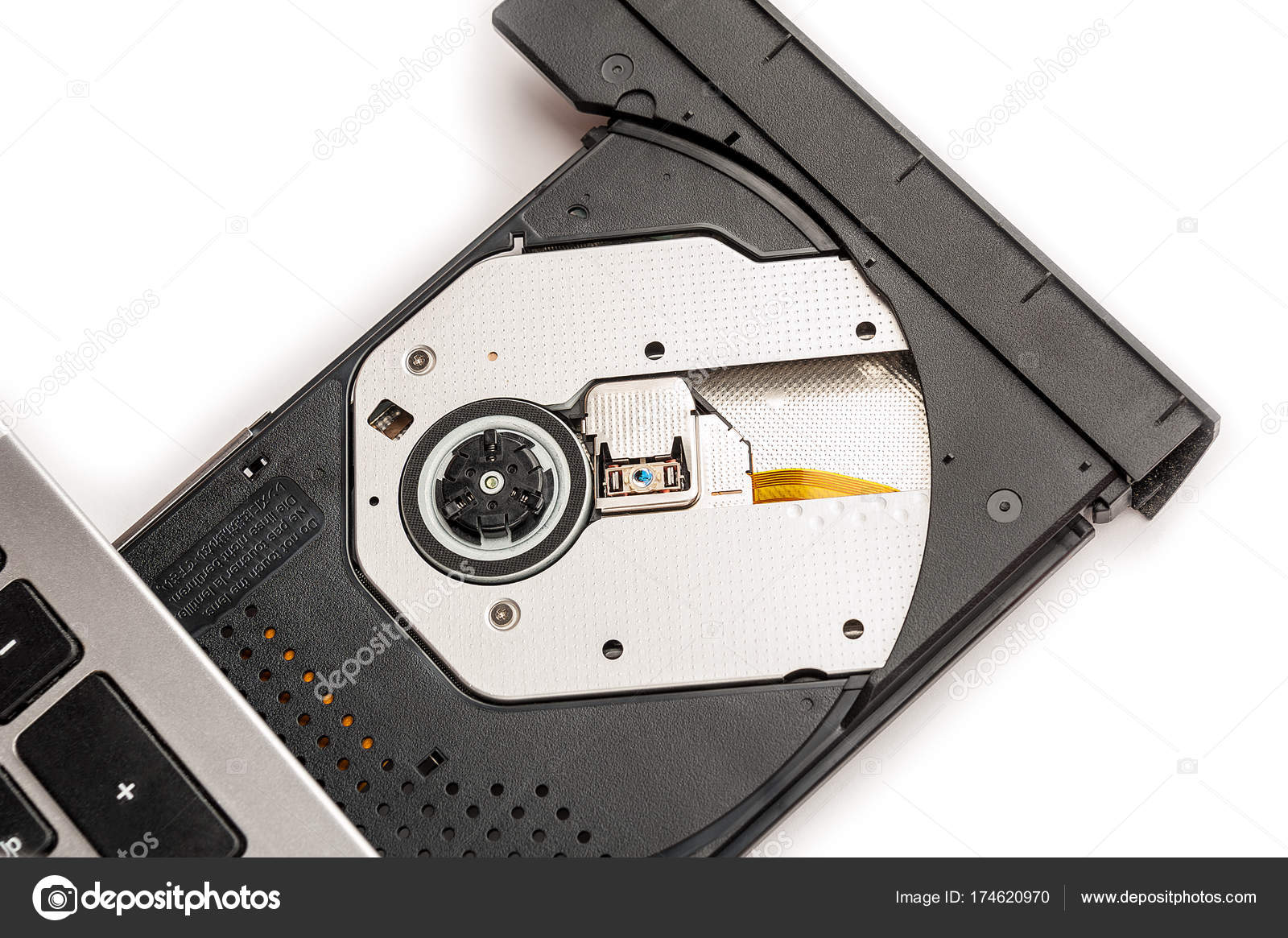 open optical cd dvd disc drive on a notebook stock photo bashta