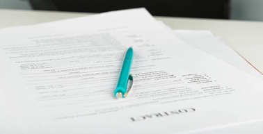 Pen and contract papers