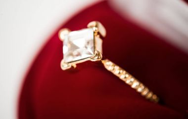 wedding ring in red gift box