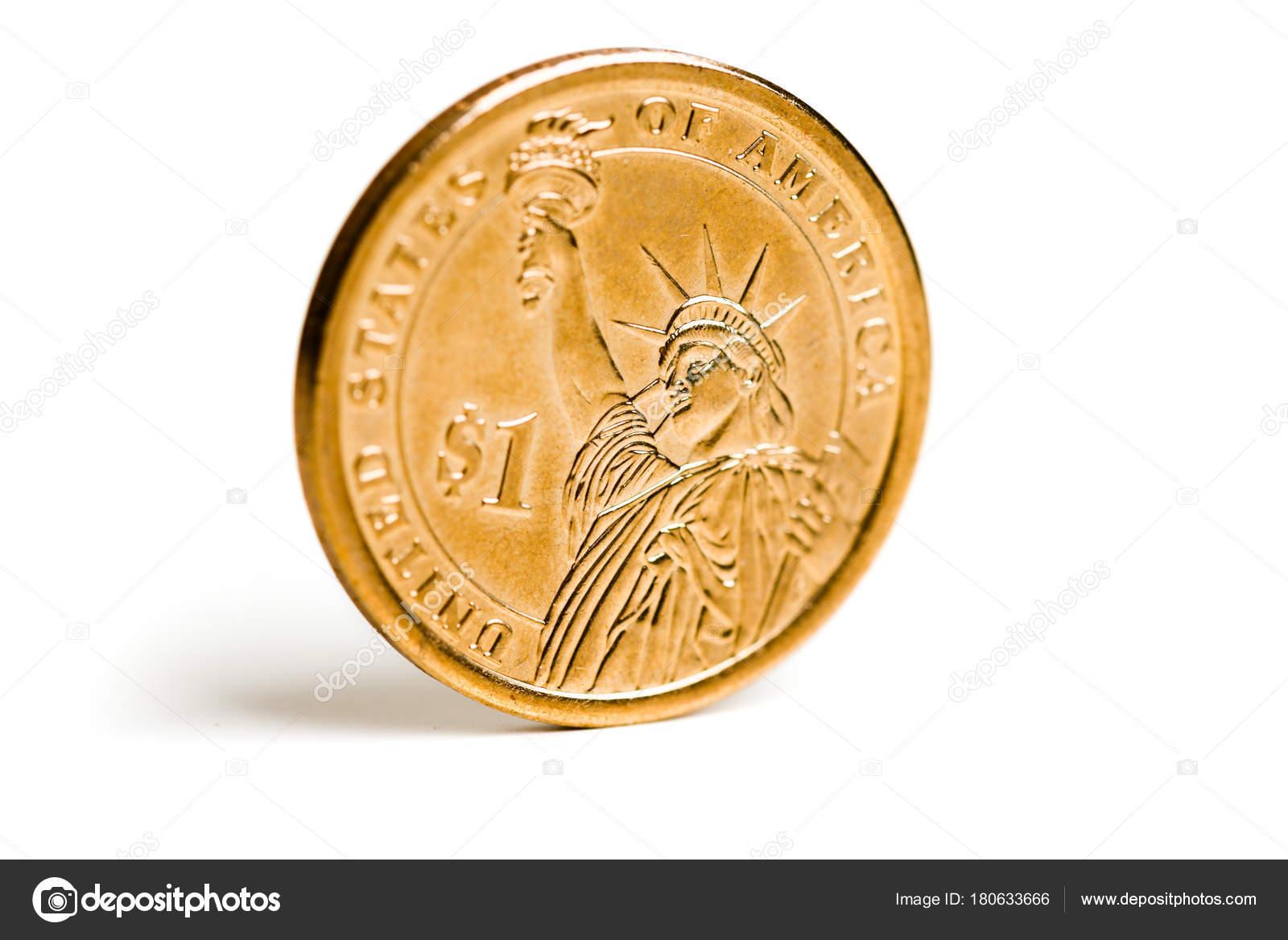 Ein Dollar Münze Mit Der Freiheitsstatue Stockfoto Valphoto