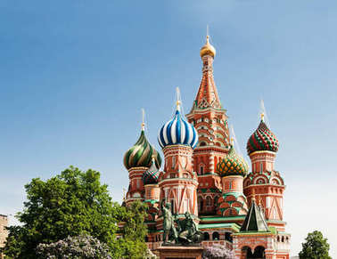 Saint Basil's Cathedral and the monument to Minin and Pozharsky on the Red Square in Moscow