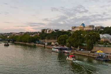 Tbilisi, Georgiai - September 24, 2017. Embankment overlooking the government building and concert hall near the Peace Bridge in Tbilisi, Georgia