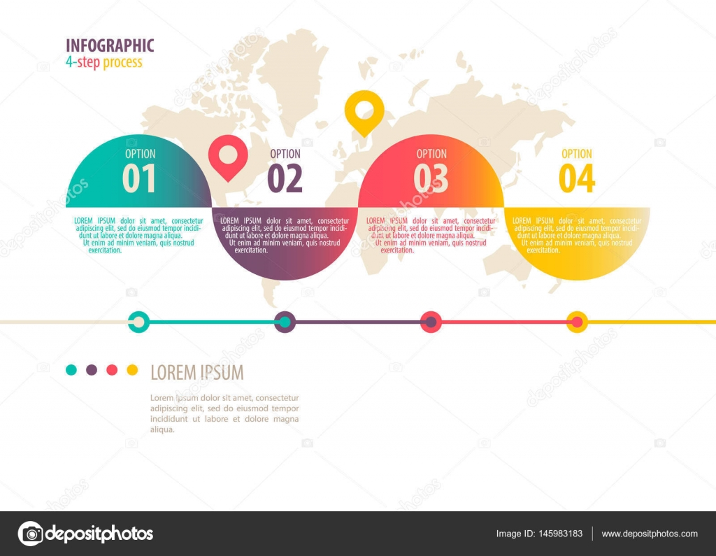 infographic template four step process stock vector heizel