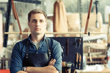 serious Leather craft workshop owner