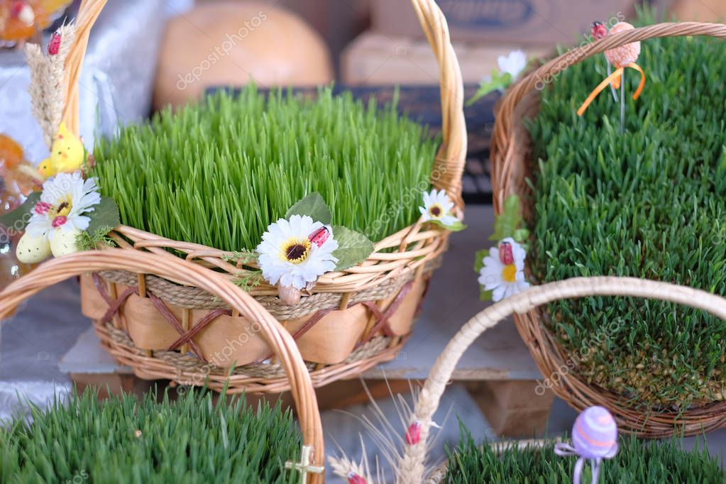 Easter baskets with grass