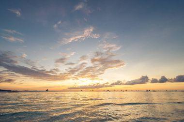 Beautiful sunset at Boracay beach
