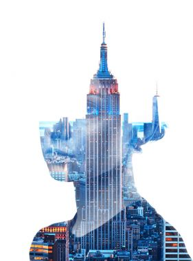 Double exposure portrait of woman and New York City skyline