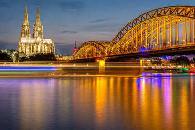 Cathedral and Bridge at night