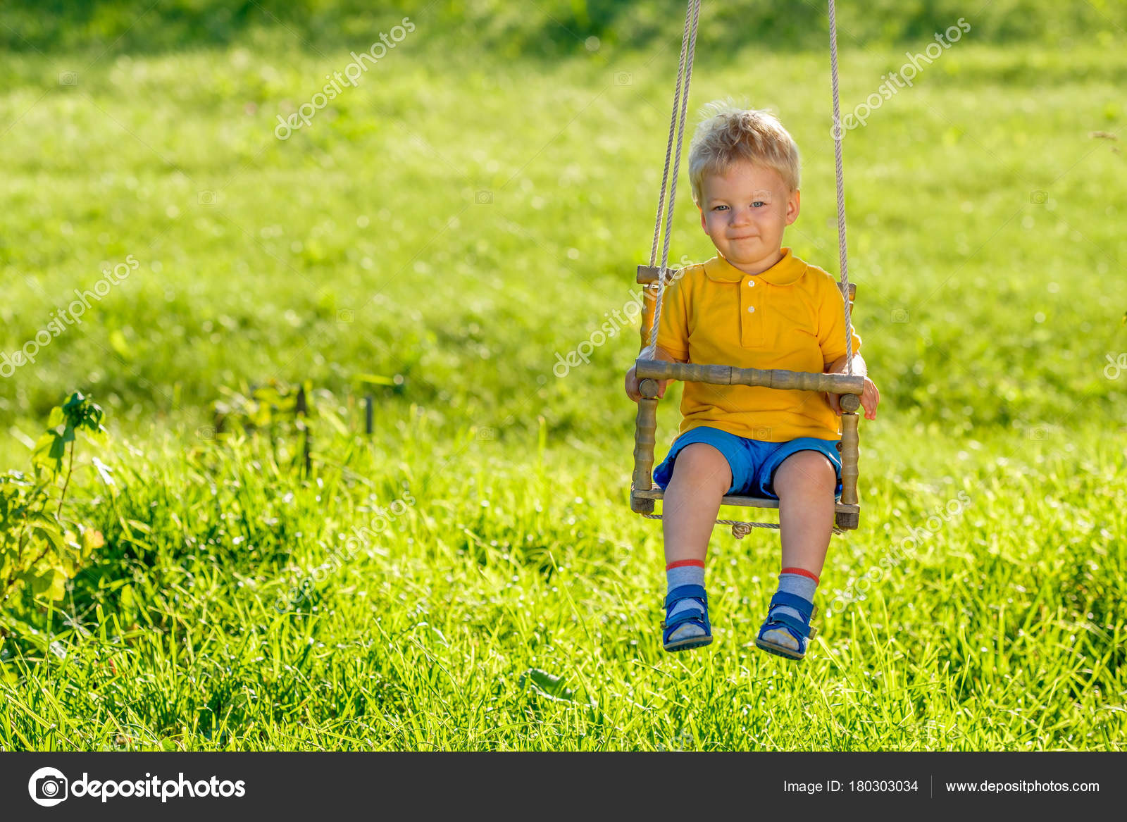 Portrait Toddler Child Swinging Outdoors Rural Scene One Year Old — Stock  Photo