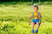 Fotografia Ritratto di oscillazione allaperto del bambino del bambino. Scena rurale con un anno di età neonato presso swing. Attività estiva di bambini in età prescolare sano. Bambino che gioca allesterno