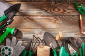Gartengeräte auf hölzernem Hintergrund flach gelegt
