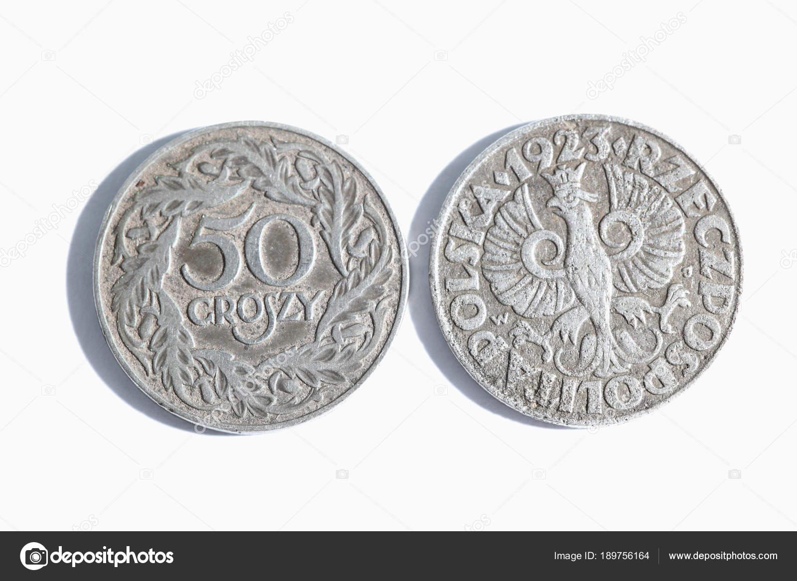 Münzen Geld Auf Einem Weißen Hintergrund Polnische Geld Stockfoto