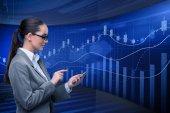 Fotografie Businesswoman in stock exchange trading concept