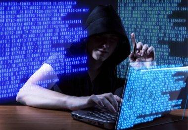 Hacker in digital security concept