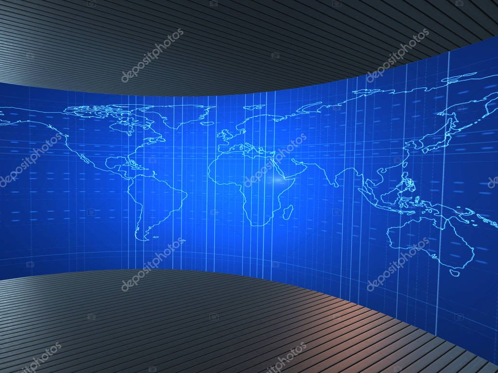 World map illustration in futuristic concept