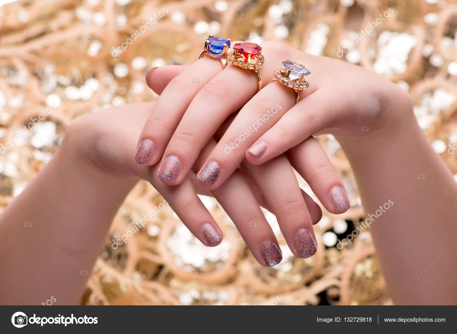Woman showing off her jewellery rings in fashion concept — Stock ...