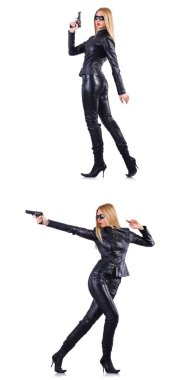 Woman in leather costume with gun isolated on white