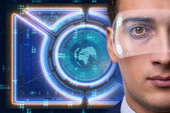 Futuristické vize koncepce s podnikatel