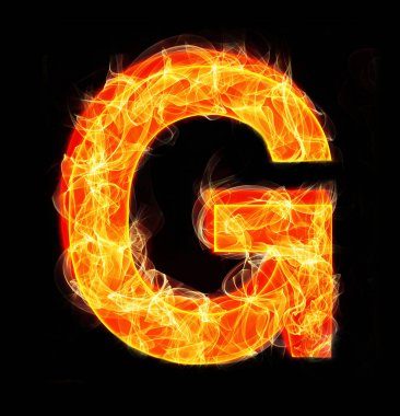Burning letters as alphabet type G