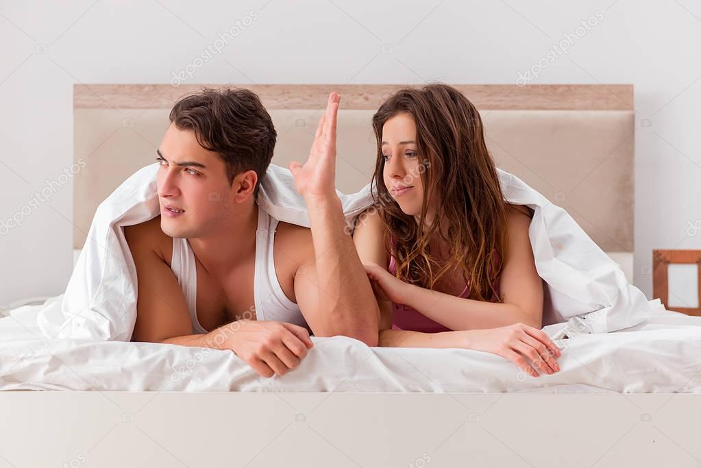 Family conflict with wife husband in bed