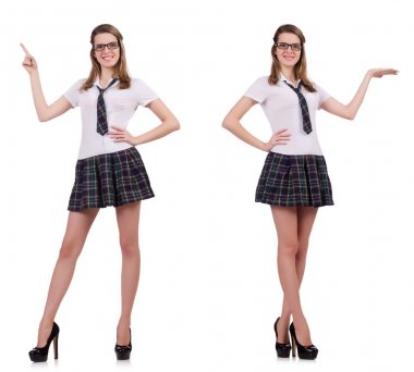 Young nice student female holding isolated on white