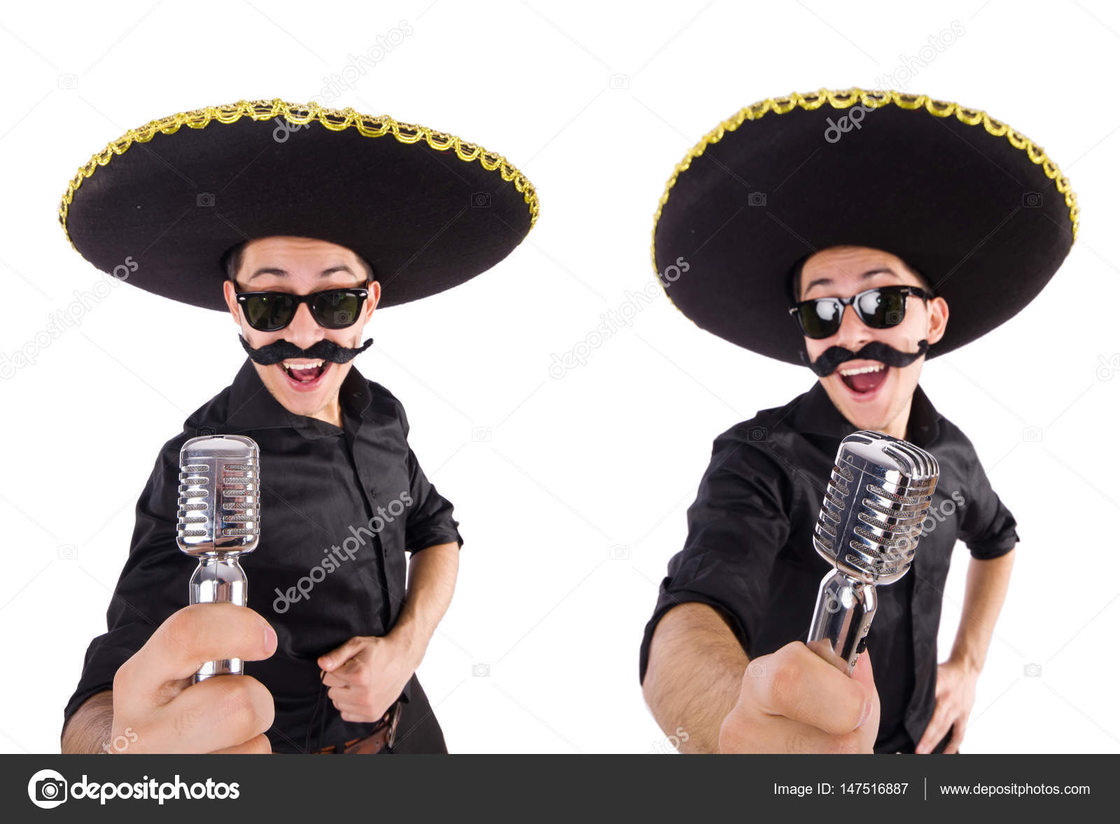 Funny man wearing mexican sombrero hat isolated on white — Stock Photo 9e48fd731f4
