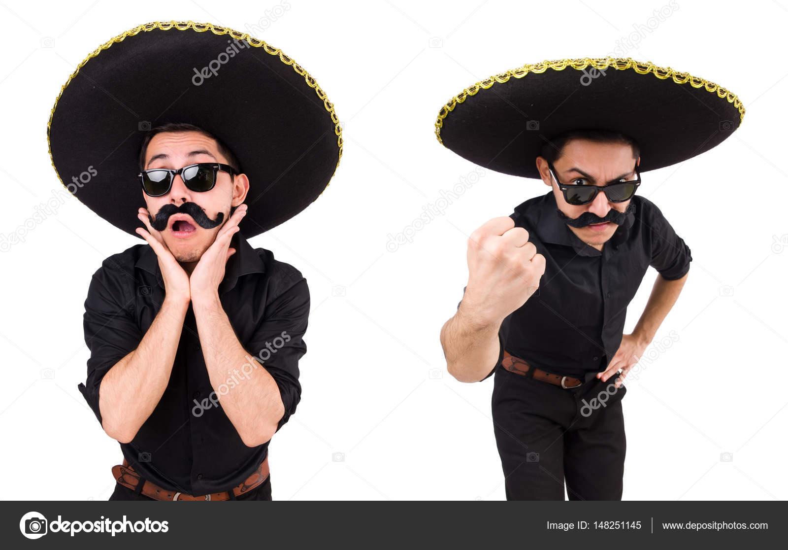 fe9b01ffc4f03 Homem engraçado chapéu sombrero mexicano isolado no branco — Fotografia de  Stock