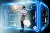 Mann Arzt in futuristischen Medizin medizinisches Konzept