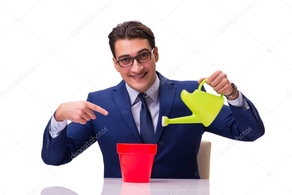Businessman with watering can isolated on white