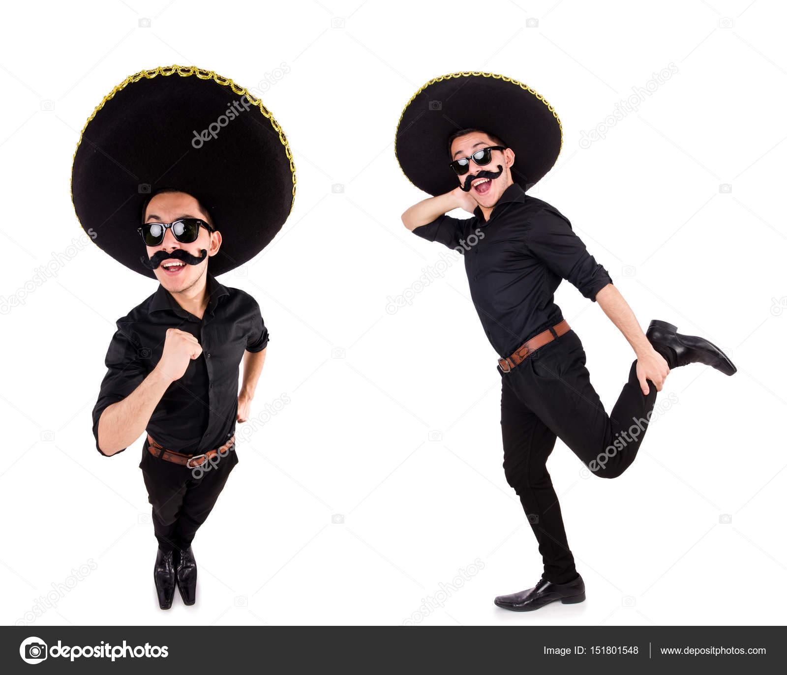 Homem engraçado chapéu sombrero mexicano isolado no branco — Fotografia de  Stock 51d732cf267
