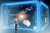 Muž lékař ve futuristické lékařství lékařská koncepce