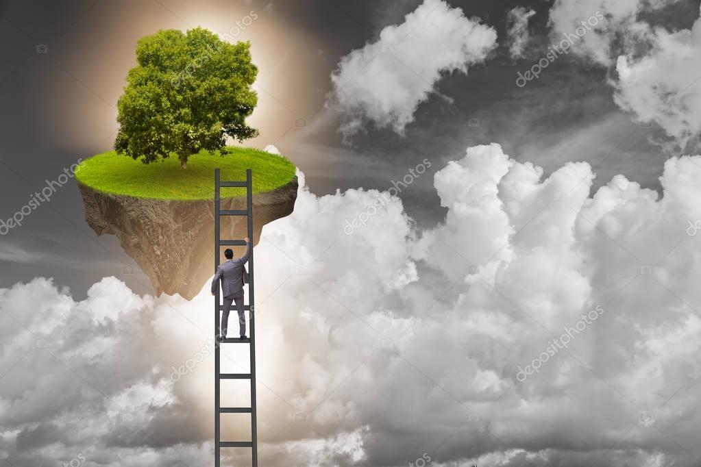 Businessman climbing to floating island