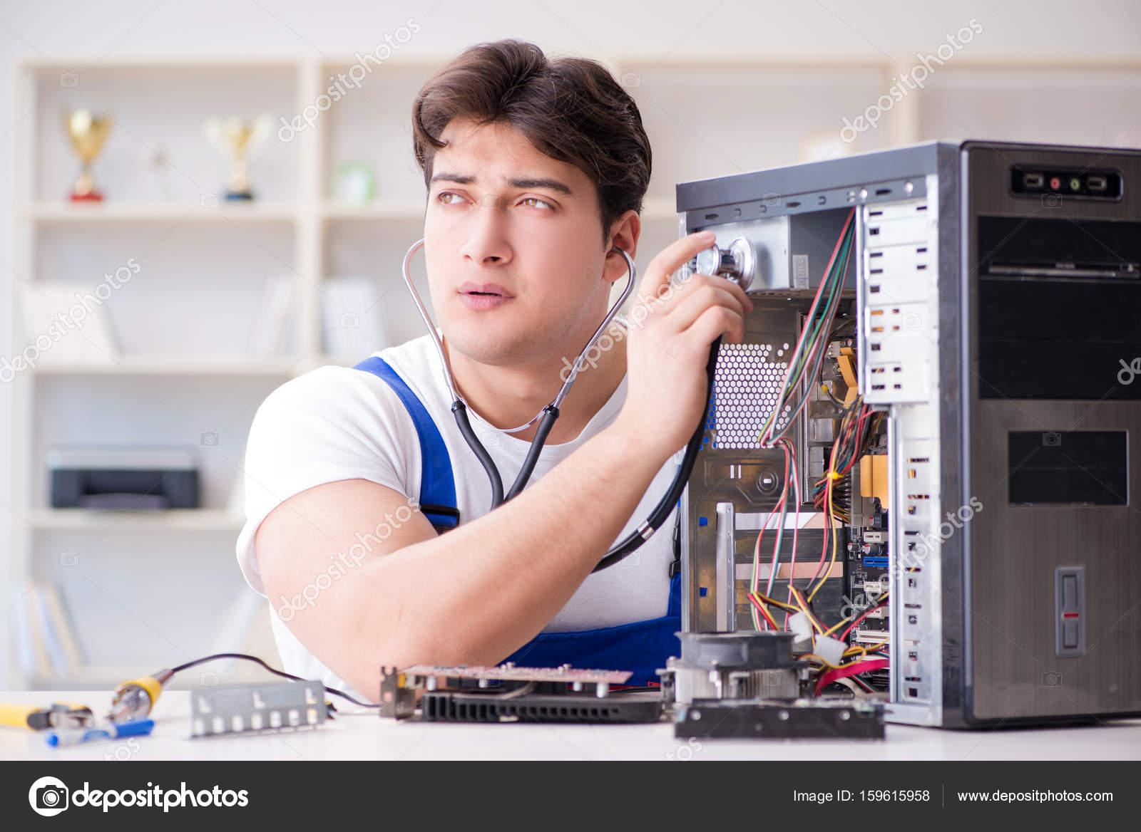 Computer Repairman Repairing Desktop Stock Photo Elnur Circuit Board Royalty Free Image By